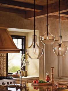 Stunning Rustic Kitchen Featuring Beautiful Clear Glass Pendant Lights.