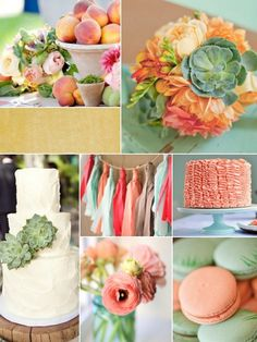 coral, peach, and mint