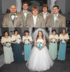 Different shades Bridesmaids dress colors matching groomsmen colors. Aqua and silver wedding. Winter wedding.