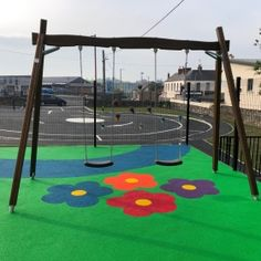 The nature inspired design of Flora playground equipment allows you to play in an exciting forest even in a city. The installation, maintenance and changing the spare parts of the Flora series could not be easier. This colorful playground is located in Ballinahinch, Ireland.