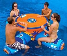 Aqua Table - The aqua table is the table of all floating tables! Featuring a large cooling department with a drainage port, built in cup holders for every seat and an anchor bag to keep you in place if you don't want to float all over the place! Awesome! $299.99