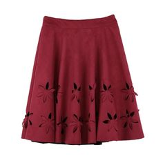 Chic Faux Suede Hollow Flower High Waist Pleated A-Line Women's Skirt