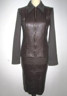 * * * Georges RECH Kostüm braun transp.m.Kunstlederstreifen, Gr.F36/D34 * * * Peplum Dress, Ebay, Dresses, Fashion, Clothing Accessories, Fashion Women, Get Tan, Vestidos, Moda
