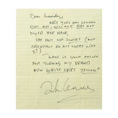 Read John Lennon's Angry Letter About Pit Stains -- Vulture ❤ liked on Polyvore