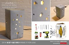 Modern DIY Concrete Lamp Postcard I might like this in a different shape or possibly different execution for getting more light some how. Any ideas?