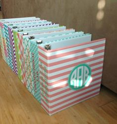 Monogrammed binders...organized personalized. Can I please have two for school?