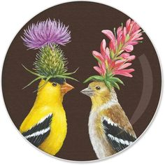 Goldfinch Couple Appetizer Plate by Paperproducts Design Appetizer Plates, Appetizers, Appetizer Dessert, Tabletop Accessories, Square Plates, Goldfinch, Fine Porcelain, Bone China, Microwave