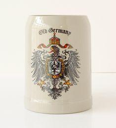 Vintage Stoneware Beer Mug Old Germany Royal Coat Of Arms Circa 1970s