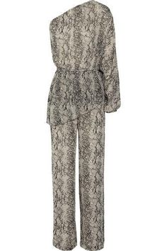 One-shoulder printed silk-chiffon jumpsuit #jumpsuit #women #covetme #tamaramellon