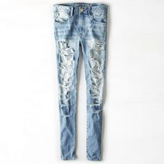 AEO Denim X Hi-Rise Jegging (Jeans) ($60) ❤ liked on Polyvore featuring jeans, torn dreams, distressing jeans, american eagle outfitters, white destroyed jeans, white jeans en white distressed jeans
