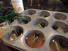 Make delicious ice cubes for your tea! I used a sprigs of rosemary, blackberries, & Tazo lemon-ginger tea for antioxidant & anti-inflammatory benefits + taste