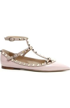 Valentino 'Rockstud' T-Strap Flat (Women) available at #Nordstrom