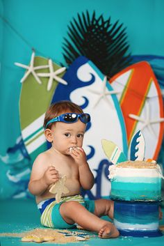 Cake smash, first birthday, surfer dude, blue, teal, lime green