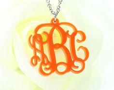 Acrylic Monogram necklace - Personalized Monogram Pendant - Custom Initial Monogram Charm - gift ideas on Etsy, $10.99