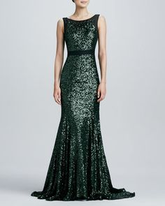 What to Wear to a Winter Wedding:  Sleeveless Mermaid Sequined Gown  by Badgley Mischka at Neiman Marcus.