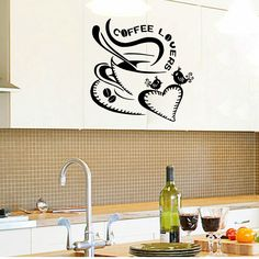 kw9200 designed Coffee cup for home/kitchen stickers waterproof and removablewall decor decals art vinyl applique Mural decal