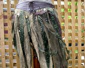 Tribal belly dance costume belt. Altered Couture festival wear. Womens repurposed tweed long tatter over skirt. Gypsy boho gift for her