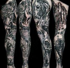Guys Full Sleeves Fantastic Black And Grey Tattoo