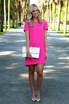 pink shift dress + white clutch with flowers + metallic heels