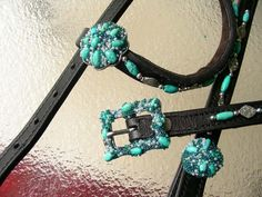 Gorgeous turquoise headstall with turquoise conchos and buckles.