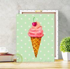 Ice cream, Summer Ice Cream, Ice Cream Art, Ice Cream Print, Ice Cream Decor, Polka Dot Ice Cream, Summer Wall Art, Ice Cream Nursery Decor #IceCreamPoster #PolkaDotIceCream #IceCreamPainting #CherryIceCream #SummerIceCream #IceCreamPrint #IceCreamArt #PolkaDot #SummerWallArt #IceCreamDecor Ice Cream Kids, Ice Cream Art, Summer Ice Cream, Cream Wall Paint, Cream Walls, Banksy Graffiti, Food Art Painting, Painting Frames, Ice Cream Painting