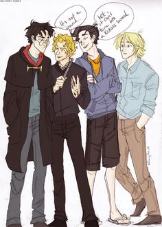 Harry Potter, Jace Wayland, Percy Jackson and Peeta Mellark. This is too perfect...