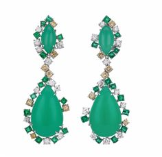 A Pair of Chrysoprase, Emerald, Diamond, and Colored Diamond Ear Pendants: Each suspending a cabochon chrysoprase drop, within a square-cut emerald and circular-cut diamond and colored diamond surround, from a similarly designed surmount, mounted in...