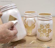 DIY Christmas luminaries with mason jars and modern masters Metallic Pain . - CarolaDIY Christmas Luminaries with Mason Jars and Modern Masters Metallic Pain . - DIY Mason Jars Master Metallic With Home Decor, Mason Jar Christmas Crafts, Christmas Centerpieces, Mason Jar Crafts, Diy Christmas Gifts, Holiday Crafts, Centerpiece Ideas, Crafts With Jars, Christmas Lights, Diys With Mason Jars