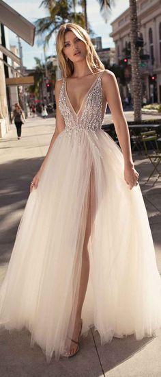 Berta by Muse Carmen v neck beaded wedding dress #musebyberta #weddingdress #weddinggowns #weddinginspiration #brides