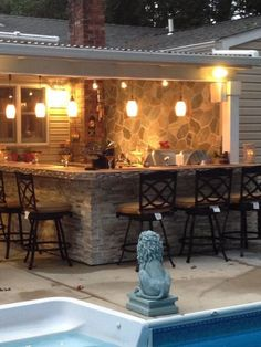 Outdoor Kitchen – Bar & Patio Cover – Our Little Piece of Paradise…., This is … Outdoor Kitchen – Bar & Patio Cover – Our Little Piece of Paradise…., This is our new Outdoor Kitchen & Bar designed by my husband & I – b… Outdoor Patio Bar, Outdoor Kitchen Bars, Backyard Bar, Outdoor Kitchen Design, Outdoor Rooms, Outdoor Living, Outdoor Kitchens, Outdoor Bars, Stone Backyard