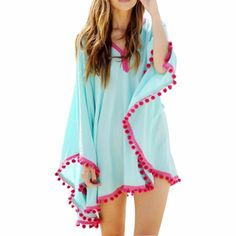 5be459ca55 Long Sleeve Beach Cover with Decorated Edge Trim