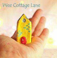Miniature Yellow Tall House, Mini House, Tiny House, Ceramic House, Mini Cottage, Miniature Cottage, Wee Cottage Lane, Tiny Home, MiniHome