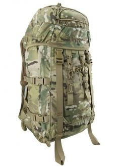 Karrimor SF Sabre 45 rucksack. Instead of messing with pesky zippers that can sometimes get stuck, it's all rot resistant cords and fasteners. Tough stuff. You can also add on 12.5ltr side attachable pockets.