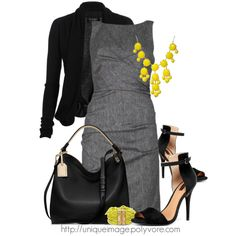 Yellow and gray. Just that little touch of yellow makes this outfit come together. Gorgeous.