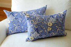 Victoria Hagan Pillow Covers by Modern Coastal Interiors    (Decorative pillow covers, periwinkle, navy, floral)