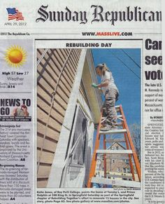65 Bay Path-ers along with President Leary helped rebuild 15 homes in Springfield, MA
