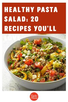 Packed with fresh produce and seasonal flavors, these healthy pasta salad recipes are a delicious addition to your menu. Healthy Pasta Salad, Healthy Pastas, Pasta Salad Recipes, Potluck Recipes, Dinner Recipes, Potluck Salad, Macaroni Salad, Cucumber Salad, Coleslaw