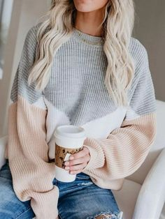 Thin Round Neck Long Sleeve Sweater asual Fall Outfits- Simple Fall Outfits- Cute Fall Outfits- Fall Outfits for Moms clothes Simple Fall Outfits, Cute Casual Outfits, Fall Winter Outfits, Cute Sweater Outfits, Winter Clothes, Sweater Fashion, Winter Dresses, Casual Winter, Fall School Outfits