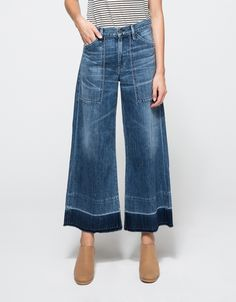 From Citizens of Humanity, mid-rise wide-leg cropped jeans in retro mid-blue wash. Features zipper fly with branded top button, belt loops, whiskering and faded Denim Fashion, Womens Fashion, Fashion 2018, Petite Fashion, Wide Leg Jeans, Cropped Jeans, Blue Jeans, Women's Jeans, Mom Jeans