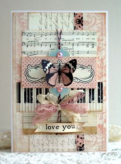 Love you card - Scrapbook.com This would be beautiful with an old church hymn page for my niece or my sister in law