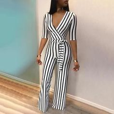2018 Fashion Deep V One Piece Striped Women Overall Waist Belted Wide Leg Office Sexy Bodysuit Bodycon Summer Elegant Jumpsuit Overall Jumpsuit, Casual Jumpsuit, Striped Jumpsuit, Elegant Jumpsuit, Wrap Jumpsuit, Black Jumpsuit, Bodycon Jumpsuit, Jumpsuit Outfit, Romper Pants