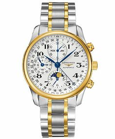 Longines Watch, Men's Swiss Automatic Chronograph Master 18k Gold and Stainless Steel Bracelet 40mm L26735787