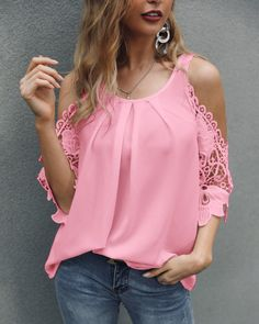 Lace Crochet Cold Shoulder Pleated Blouse Women's Online Shopping Offering Huge Discounts on Dresses, Lingerie , Jumpsuits , Swimwear, Tops and More. Red Cami Tops, Mode Hijab, Indian Wear, Casual Tops, Blouses For Women, Ladies Blouses, Blouse Designs, Casual Dresses, Event Dresses