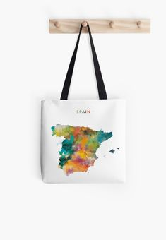 Spain   #spain #europe #state #map #art #print #women #tote #bag #style #gift #ideas #travel #espana #espanol #abstract #minimalist #colorful #watercolor #spanish #modern #country
