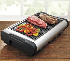 Bringing the highest quality BBQ features to indoor grills. Made out of a durable, cast iron ribbed plate which retains high temperature, the Chef's Choice Professional #ElectricGrill is perfect for preparing those juicy steaks and hamburgers at home.