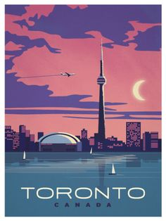 Vintage Poster Toronto, CANADA (I was here without Bob when I was sent on business by the engineering company I worked for in Salt Lake City.) - Browse all products in the Travel Posters category from IdeaStorm Studio Store. Pin Ups Vintage, Vintage Ads, Vintage Style, Tourism Poster, Kunst Poster, Travel Illustration, Digital Illustration, Vintage Travel Posters, Cool Posters
