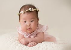 3 month baby portrait, 100 days portrait, Ruffles & Roses- Chicago North Shore Baby Photography, www.sobenstudios.com