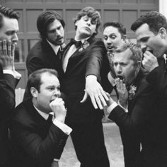 don't let your groom feel like he is playing second fiddle.. Great wedding photo idea of groom being a lil' crazy funny!