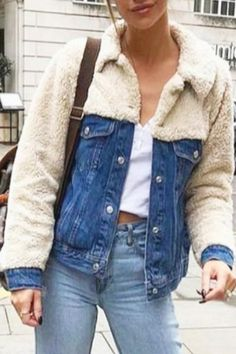 We're obsessing over this retro inspired hybrid denim jacket. Love the faux fur sheep skin sleeves! <br />Fit is loose, comfy. True to size. Altered Couture, Stylish Eve Outfits, Fall Outfits, Denim Fashion, Fashion Outfits, Fashion Fashion, Fashion Tips, Fashion Trends, Thrift Store Refashion