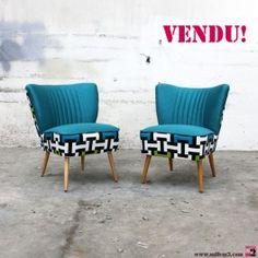 """Fauteuil cocktail vintage des années 50 """"tissu géométrique vert-bleu"""""""